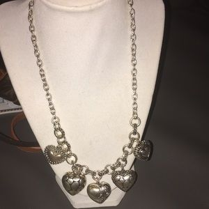 Antique Silver Puffy Hearts 💕 Necklace